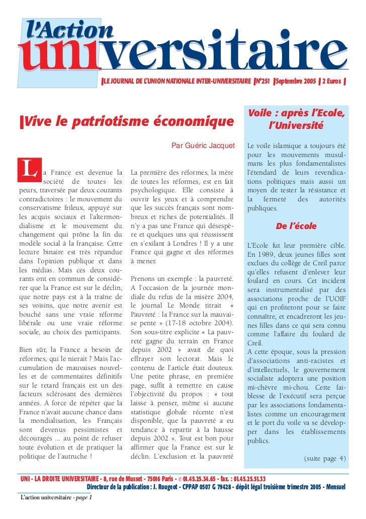l'Actionuniversitaire                     ❚ LE JOURNAL DE L'UNION NATIONALE INTER-UNIVERSITAIRE ❚ N°251 ❚ Septembre 2005 ❚...