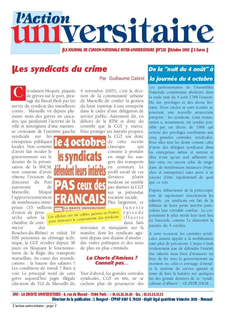 l'Actionuniversitaire                     ❚ LE JOURNAL DE L'UNION NATIONALE INTER-UNIVERSITAIRE ❚ N°252 ❚ Octobre 2005 ❚ 2...