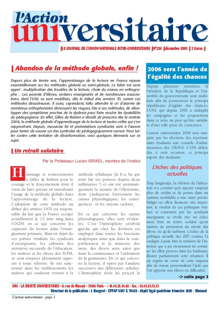 l'Actionuniversitaire                     ❚ LE JOURNAL DE L'UNION NATIONALE INTER-UNIVERSITAIRE ❚ N°254 ❚ décembre 2005 ❚ ...