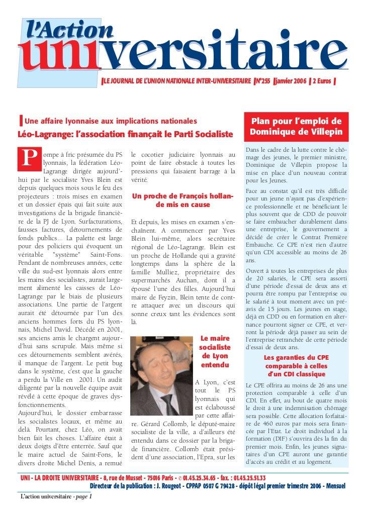 l'Actionuniversitaire                     ❚ LE JOURNAL DE L'UNION NATIONALE INTER-UNIVERSITAIRE ❚ N°255 ❚ janvier 2006 ❚ 2...