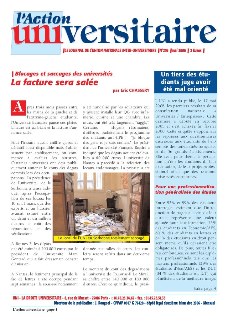 l'Actionuniversitaire                       ❚ LE JOURNAL DE L'UNION NATIONALE INTER-UNIVERSITAIRE ❚ N°259 ❚ mai 2006 ❚ 2 E...