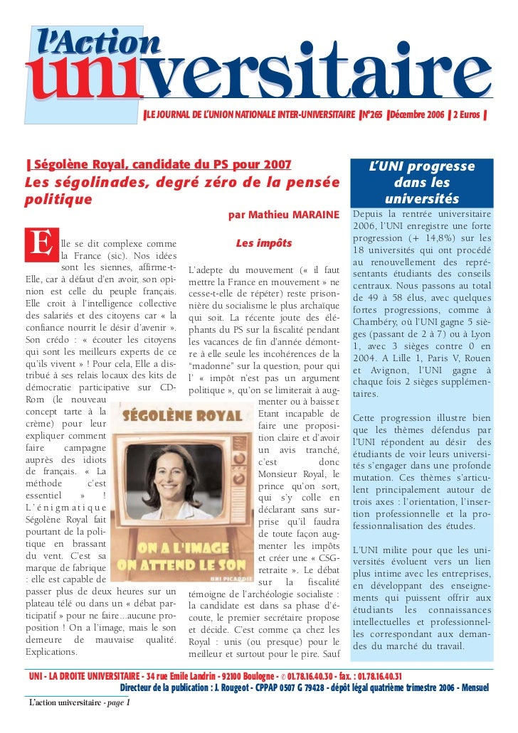 l'Actionuniversitaire                     ❚ LE JOURNAL DE L'UNION NATIONALE INTER-UNIVERSITAIRE ❚ N°265 ❚ Décembre 2006 ❚ ...