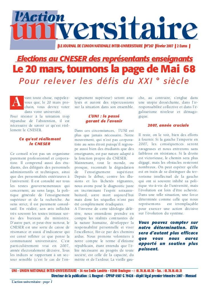 l'Actionuniversitaire                     ❚ LE JOURNAL DE L'UNION NATIONALE INTER-UNIVERSITAIRE ❚ N°267 ❚ février 2007 ❚ 2...