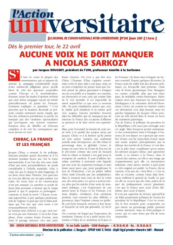 l'Actionuniversitaire                         ❚ LE JOURNAL DE L'UNION NATIONALE INTER-UNIVERSITAIRE ❚ N°268 ❚ mars 2007 ❚ ...