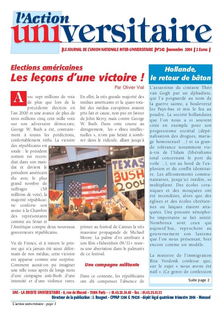 l'Actionuniversitaire                     ❚ LE JOURNAL DE L'UNION NATIONALE INTER-UNIVERSITAIRE ❚ N°242 ❚ novembre 2004 ❚ ...
