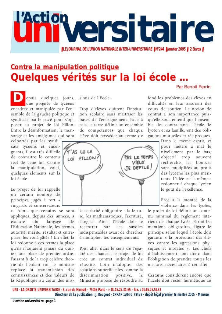 l'Actionuniversitaire                     ❚ LE JOURNAL DE L'UNION NATIONALE INTER-UNIVERSITAIRE ❚ N°244 ❚ janvier 2005 ❚ 2...