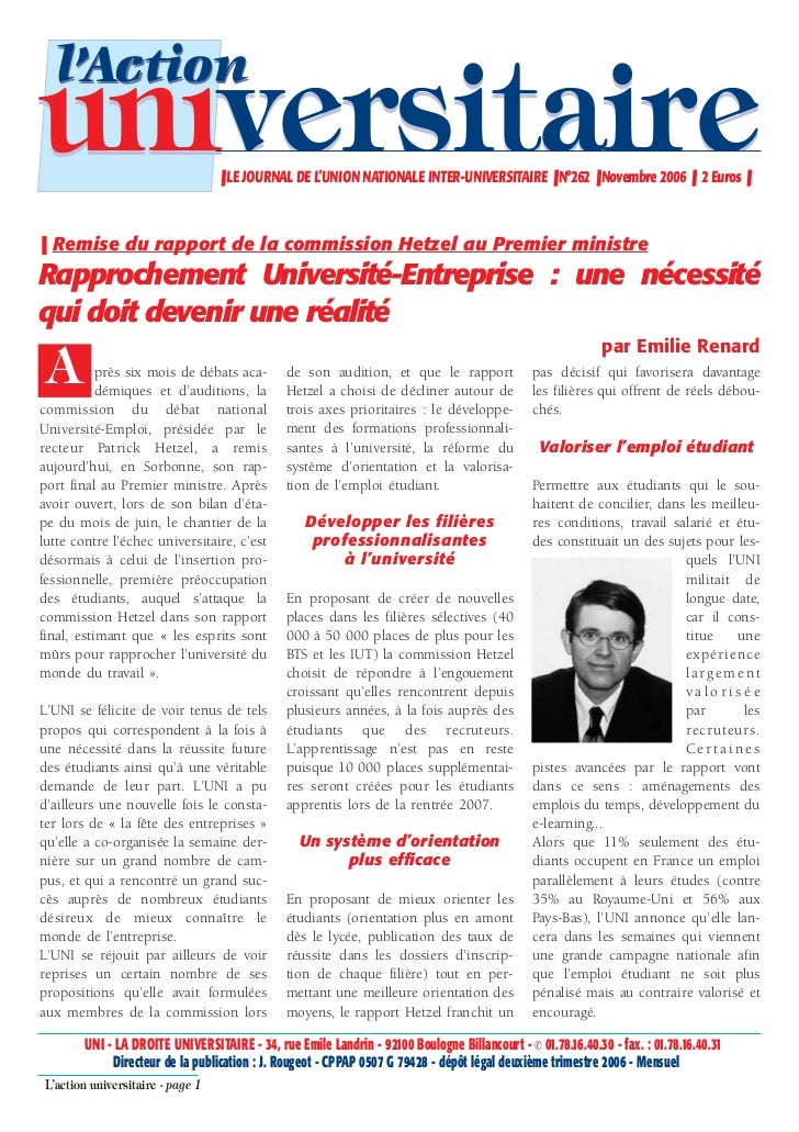 l'Actionuniversitaire                     ❚ LE JOURNAL DE L'UNION NATIONALE INTER-UNIVERSITAIRE ❚ N°262 ❚ Novembre 2006 ❚ ...
