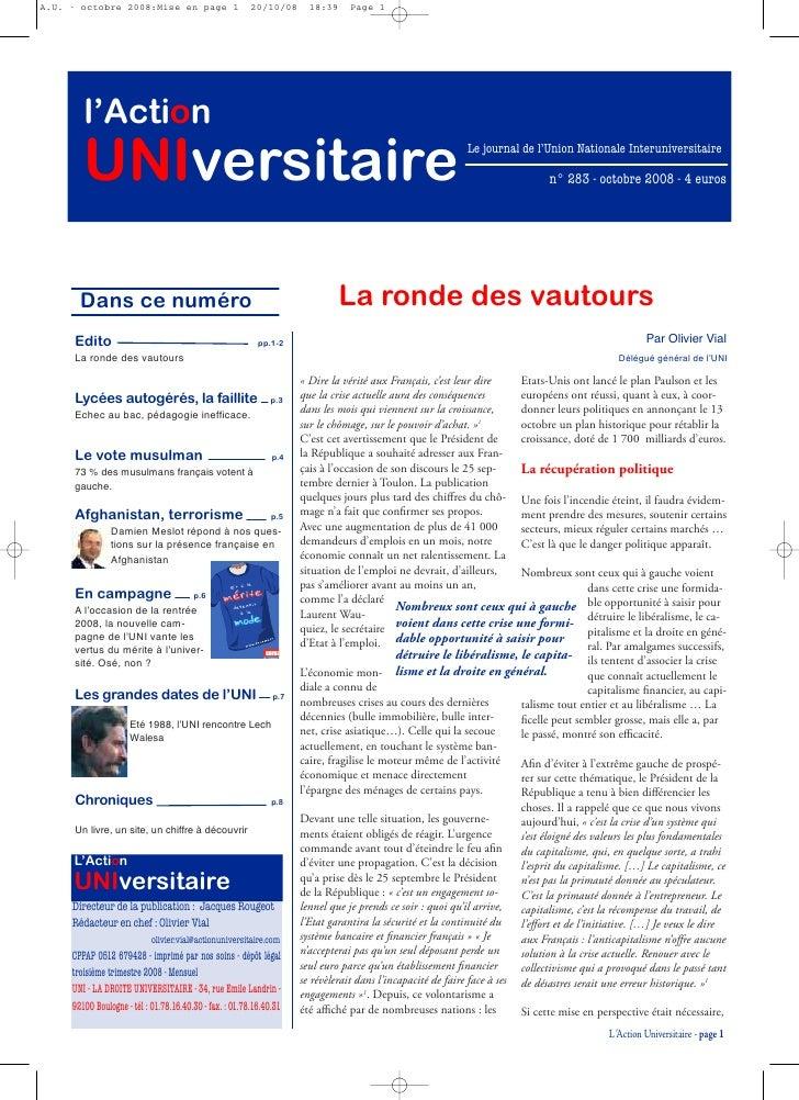 A.U. - octobre 2008:Mise en page 1                               20/10/08                            18:39    Page 1      ...