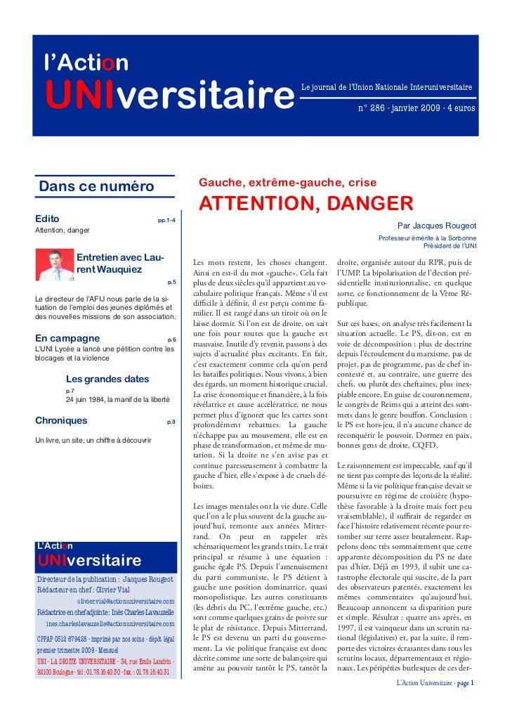 l'Action   UNIversitaire                                                                                    Le journal de ...