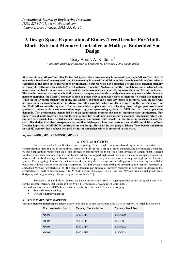 International Journal of Engineering InventionsISSN: 2278-7461, www.ijeijournal.comVolume 1, Issue 1(August 2012) PP: 01-1...