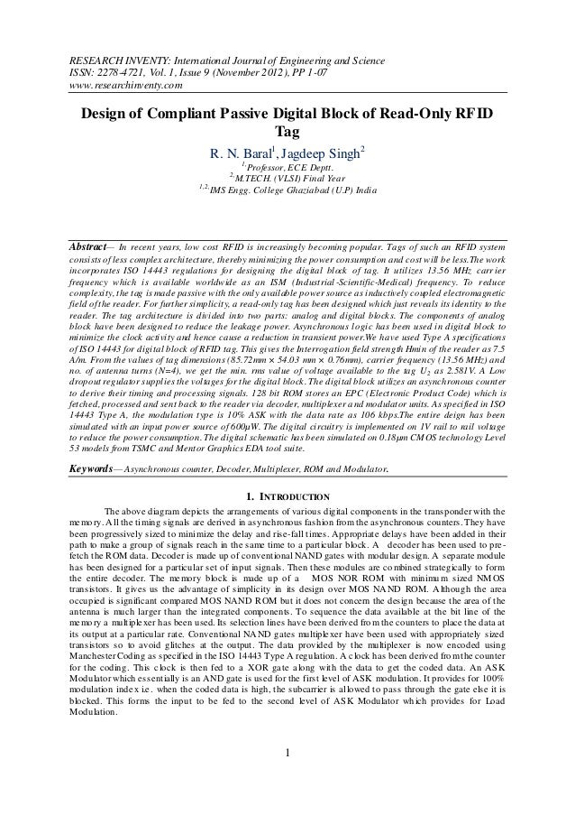 RESEARCH INVENTY: International Journal of Engineering and ScienceISSN: 2278-4721, Vol. 1, Issue 9 (November 2012), PP 1-0...