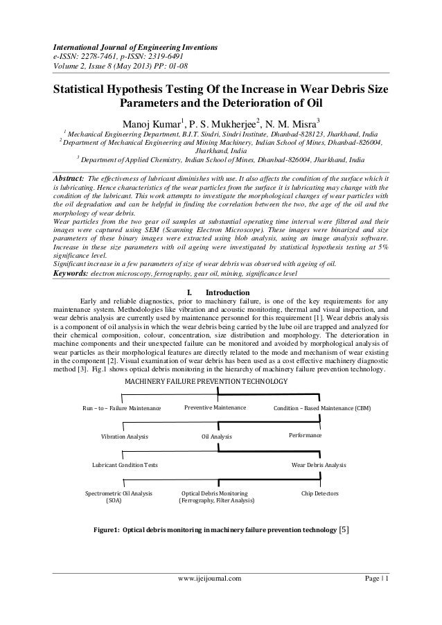Statistical Hypothesis Testing Of the Increase in Wear Debris Size Parameters and the Deterioration of Oil