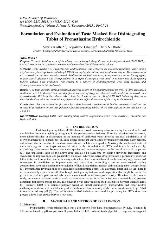 IOSR Journal Of Pharmacy (e)-ISSN: 2250-3013, (p)-ISSN: 2319-4219 Www.Iosrphr.Org Volume 3, Issue 11(December 2013), Pp 01...
