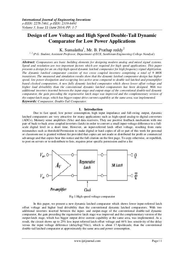Design of Low Voltage and High Speed Double-Tail Dynamic Comparator for Low Power Applications