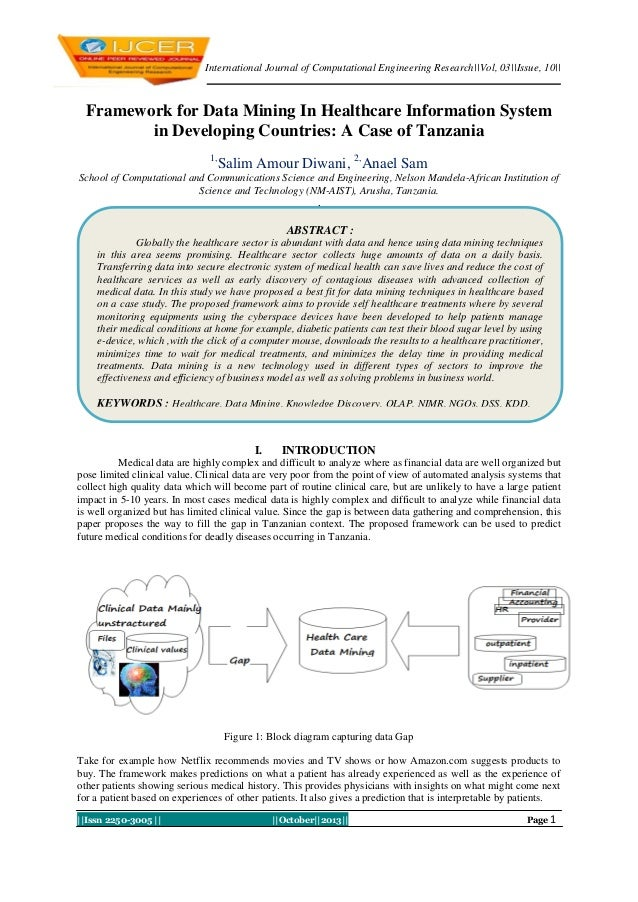 International Journal of Computational Engineering Research||Vol, 03||Issue, 10||  Framework for Data Mining In Healthcare...