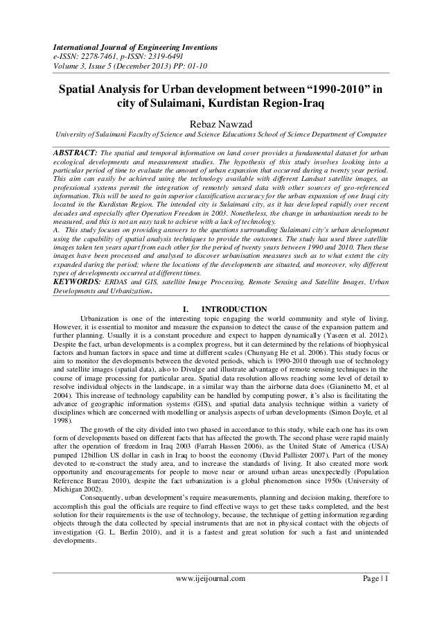 "Spatial Analysis for Urban development between ""1990-2010"" in  city of Sulaimani, Kurdistan Region-Iraq"