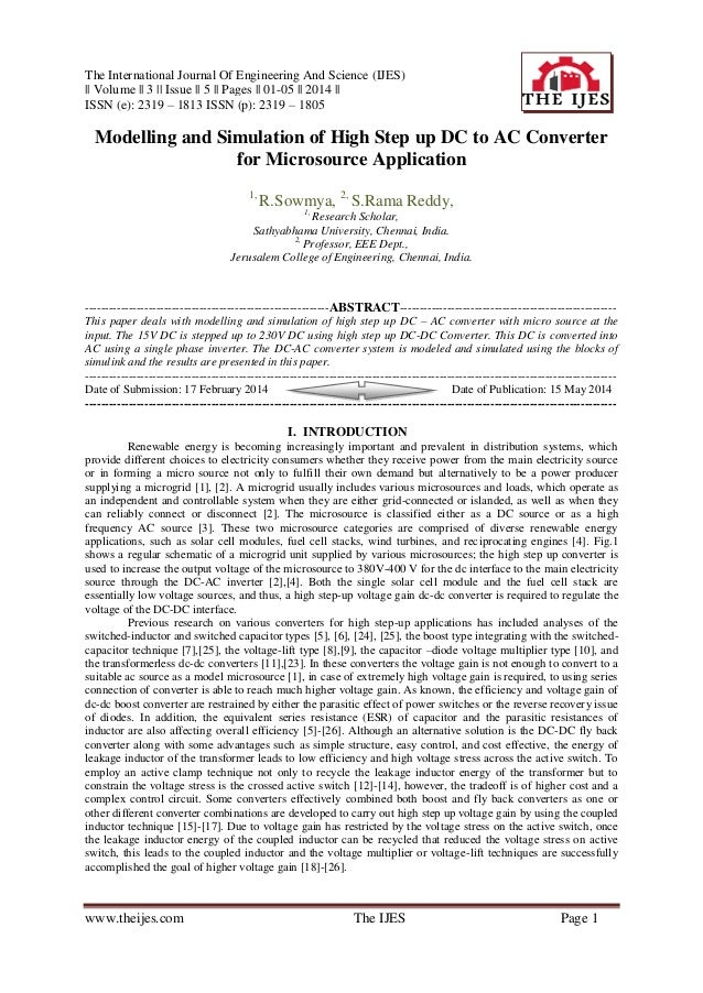 The International Journal Of Engineering And Science (IJES) || Volume || 3 || Issue || 5 || Pages || 01-05 || 2014 || ISSN...