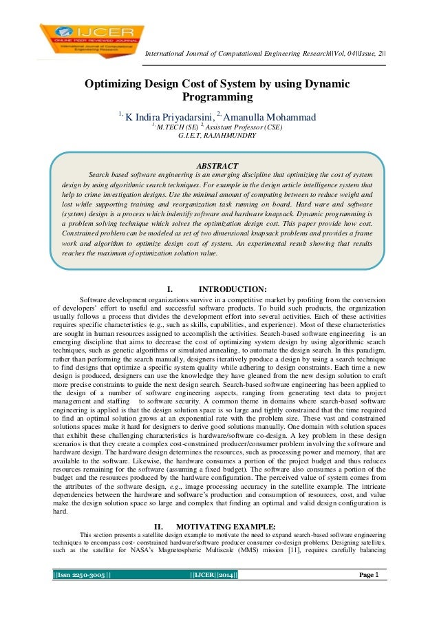 International Journal of Computational Engineering Research||Vol, 04||Issue, 2||  Optimizing Design Cost of System by usin...
