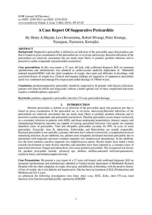 IOSR Journal Of Pharmacy (e)-ISSN: 2250-3013, (p)-ISSN: 2319-4219 www.iosrphr.org Volume 4, Issue 5 (May 2014), PP. 01-03 ...