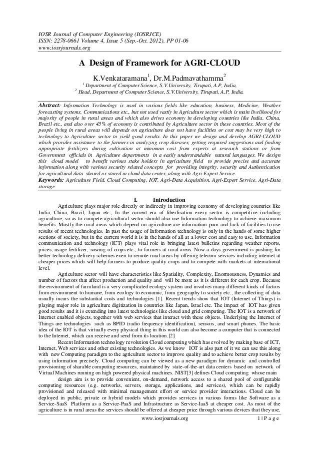 A Design of Framework for AGRI-CLOUD