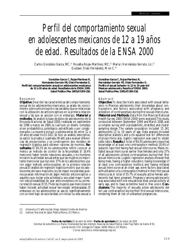 Comportamiento sexual en adolescentes mexicanos                                                                           ...
