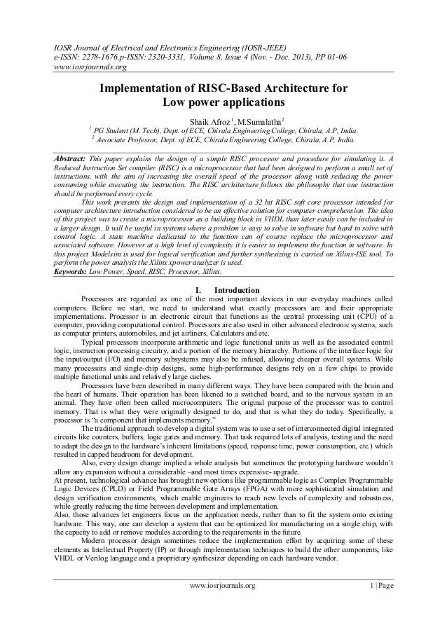 Implementation of RISC-Based Architecture for Low power applications