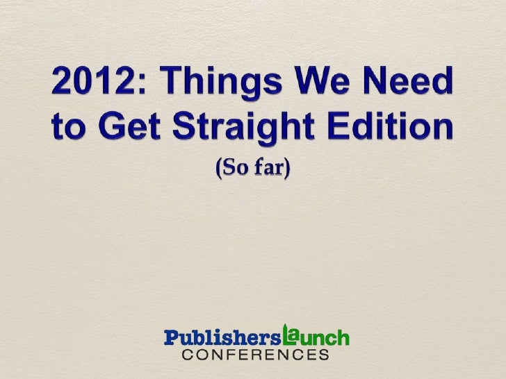 Michael Cader -- Book Publishing in 2012