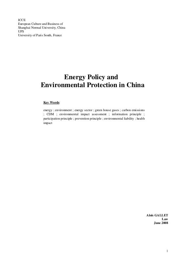 ICCE European Culture and Business of Shanghai Normal University, China UPS University of Paris South, France Energy Polic...