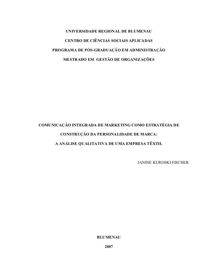 UNIVERSIDADE REGIONAL DE BLUMENAU         CENTRO DE CIÊNCIAS SOCIAIS APLICADAS     PROGRAMA DE PÓS-GRADUAÇÃO EM ADMINISTRA...