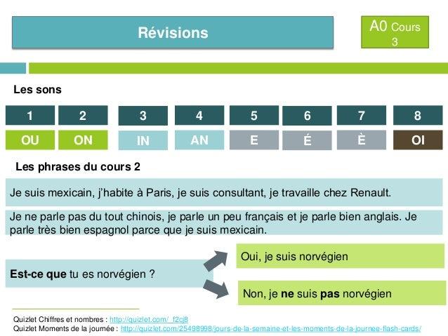 A0 Cours  Révisions  3  Les sons  1  2  3  4  5  6  7  8  OU  ON  IN  AN  E  É  È  OI  Les phrases du cours 2 Je suis mexi...