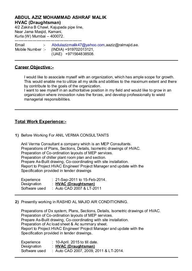 resume for in hvac draughtsman