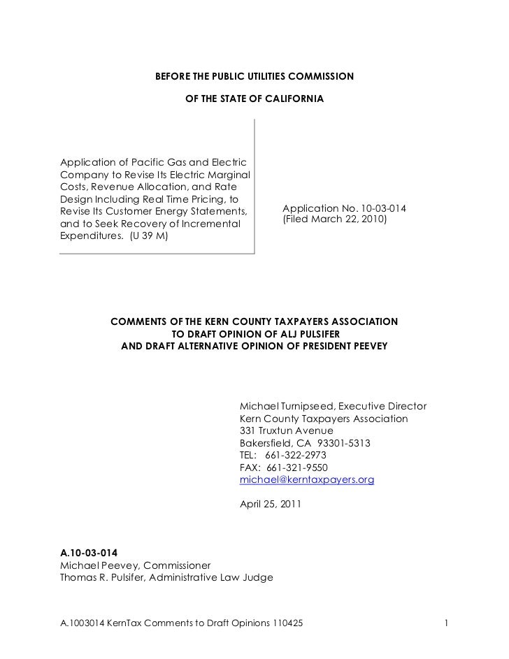 BEFORE THE PUBLIC UTILITIES COMMISSION                          OF THE STATE OF CALIFORNIAApplication of Pacific Gas and E...