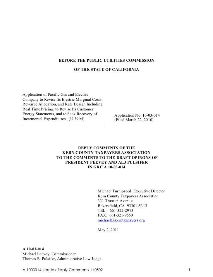 BEFORE THE PUBLIC UTILITIES COMMISSION                             OF THE STATE OF CALIFORNIAApplication of Pacific Gas an...