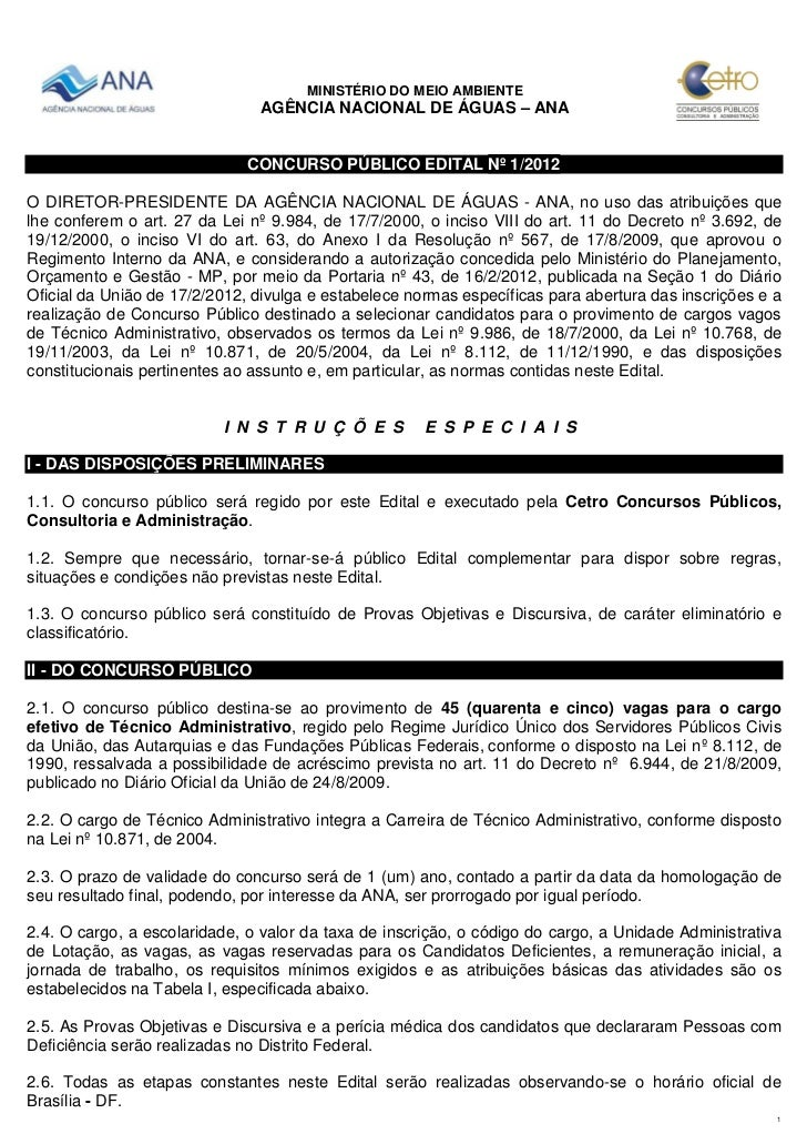 MINISTÉRIO DO MEIO AMBIENTE                               AGÊNCIA NACIONAL DE ÁGUAS – ANA                              CON...