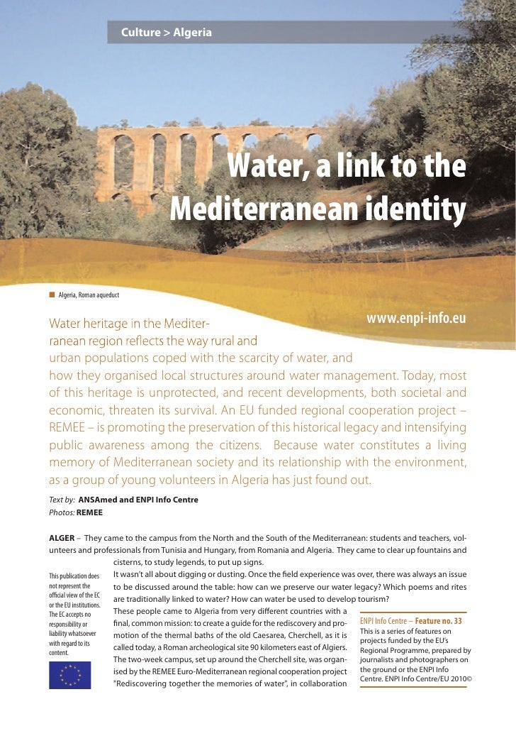 Culture > Algeria                                        Water, a link to the                                     Mediterr...