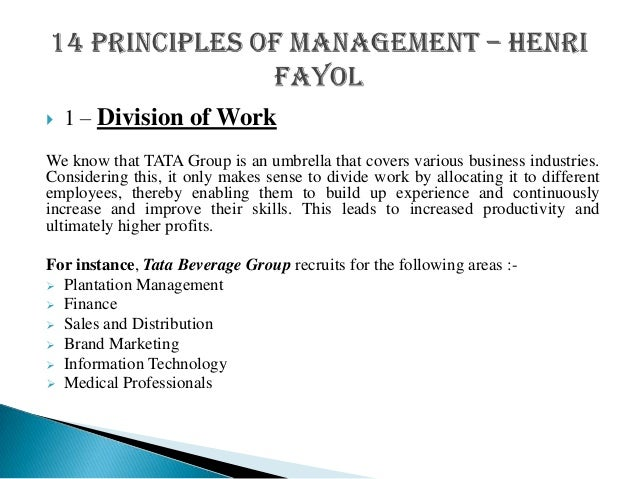 unilever applying henri fayols principles Principles of henri fayol applied in mcdonalds essay management and 14 principles of management fayol's work has stood the of henri fayol applied.
