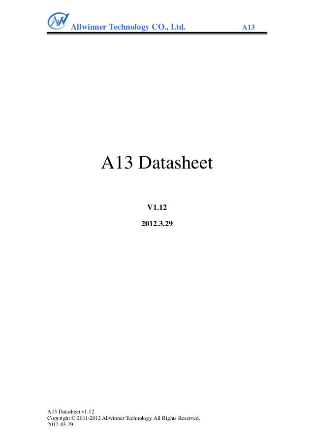 Allwinner A13 CPU datasheet