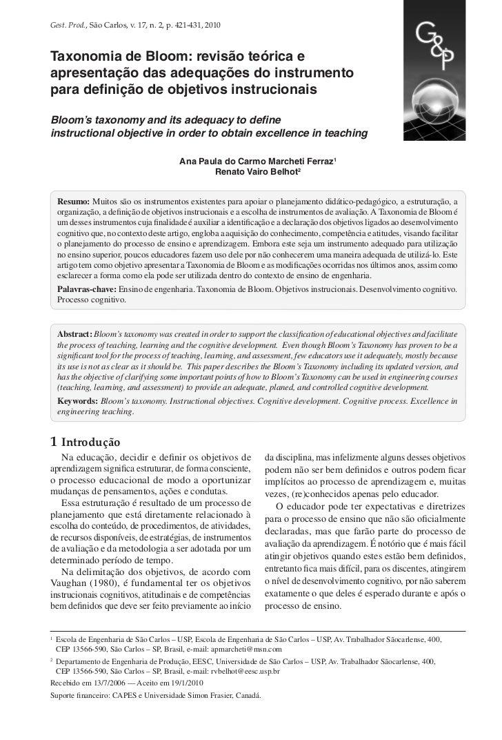 Gest. Prod., São Carlos, v. 17, n. 2, p. 421-431, 2010Taxonomia de Bloom: revisão teórica eapresentação das adequações do ...