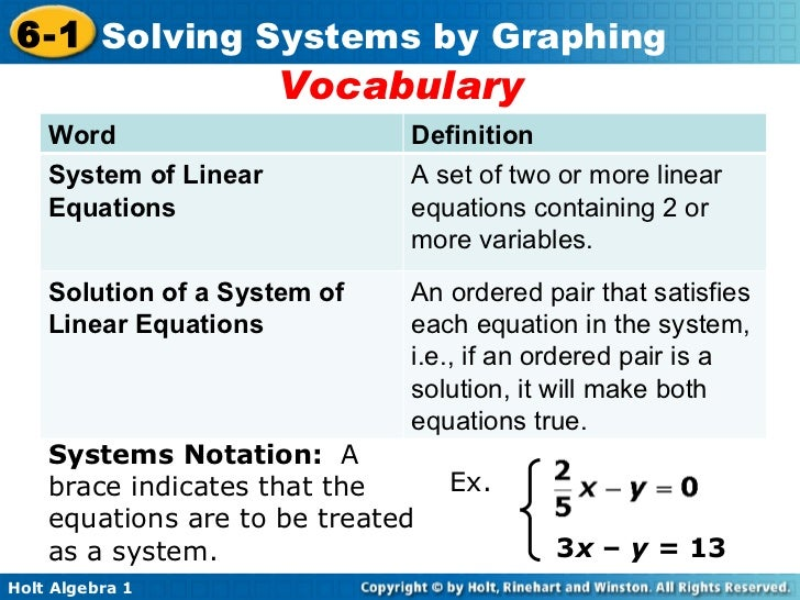 Vocabulary 3 x  –  y =  13 Systems Notation:  A brace indicates that the equations are to be treated as a system. Ex. Word...