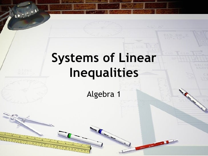 Systems of Linear Inequalities Algebra 1