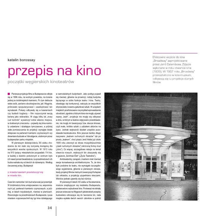 """Katalin Borrosay, """"Przepis na kino"""", Przestrzenie sceny"""