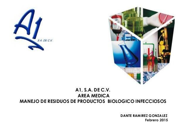 A1, S.A. DE C.V. AREA MEDICA MANEJO DE RESIDUOS DE PRODUCTOS BIOLOGICO INFECCIOSOS DANTE RAMIREZ GONZALEZ Febrero 2015