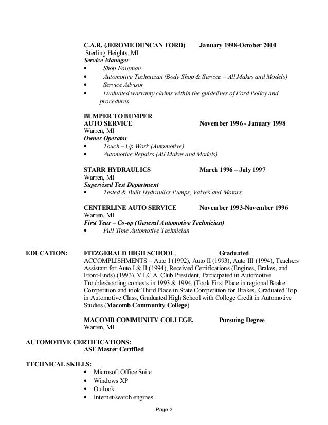 Body Of A Resume. auto body technician resume sample auto mechanic ...