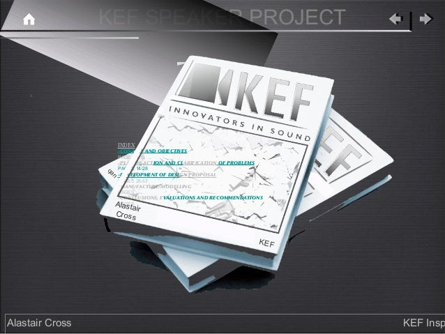 KEF SPEAKER PROJECT                      INDEX                      -CONTEXT AND OBJECTIVES                      PAGES 1-1...