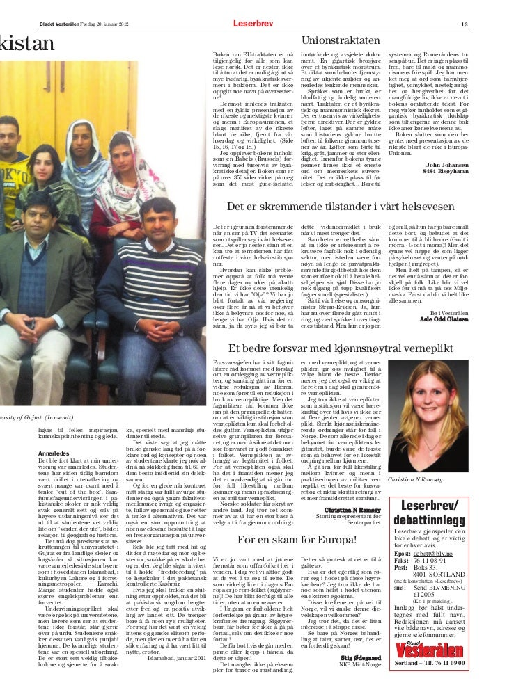 Bladet Vesterålen Fredag 20. januar 2012                                              Leserbrev                           ...