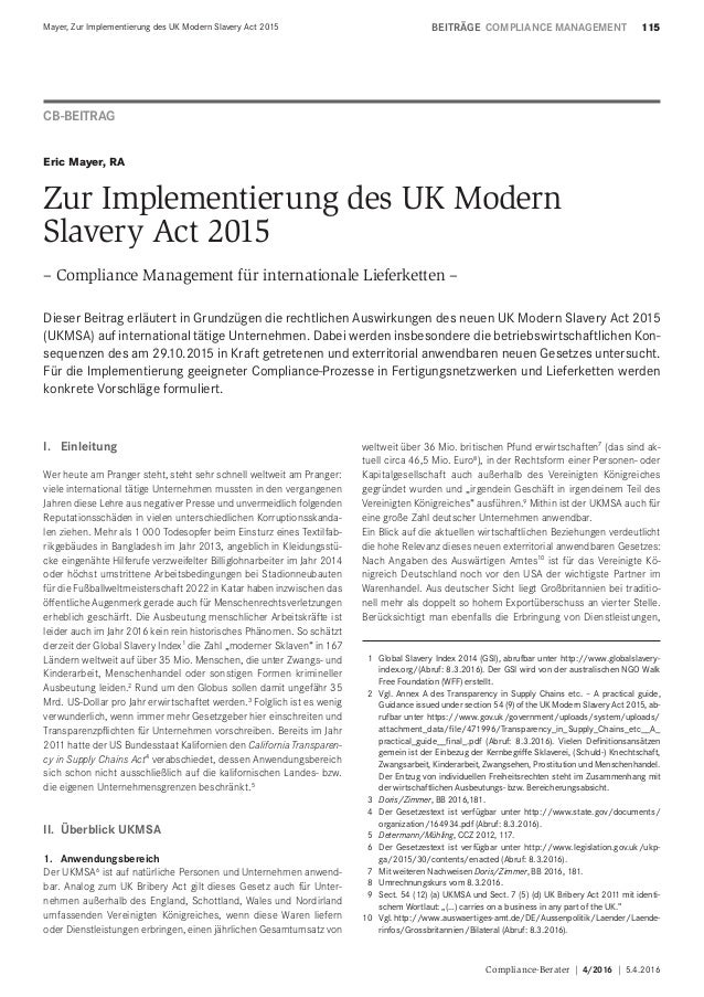 Compliance-Berater | 4/2016 | 5.4.2016 115Mayer, Zur Implementierung des UK Modern Slavery Act 2015 BEITRÄGECOMPLIANCE MA...