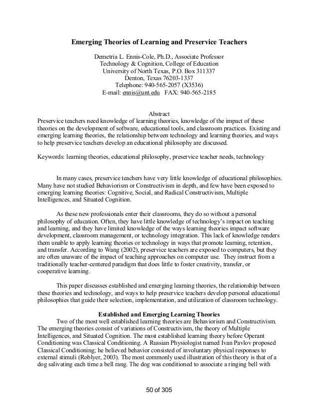Emerging Theories of Learning and Preservice Teachers Demetria L. Ennis-Cole, Ph.D., Associate Professor Technology & Cogn...