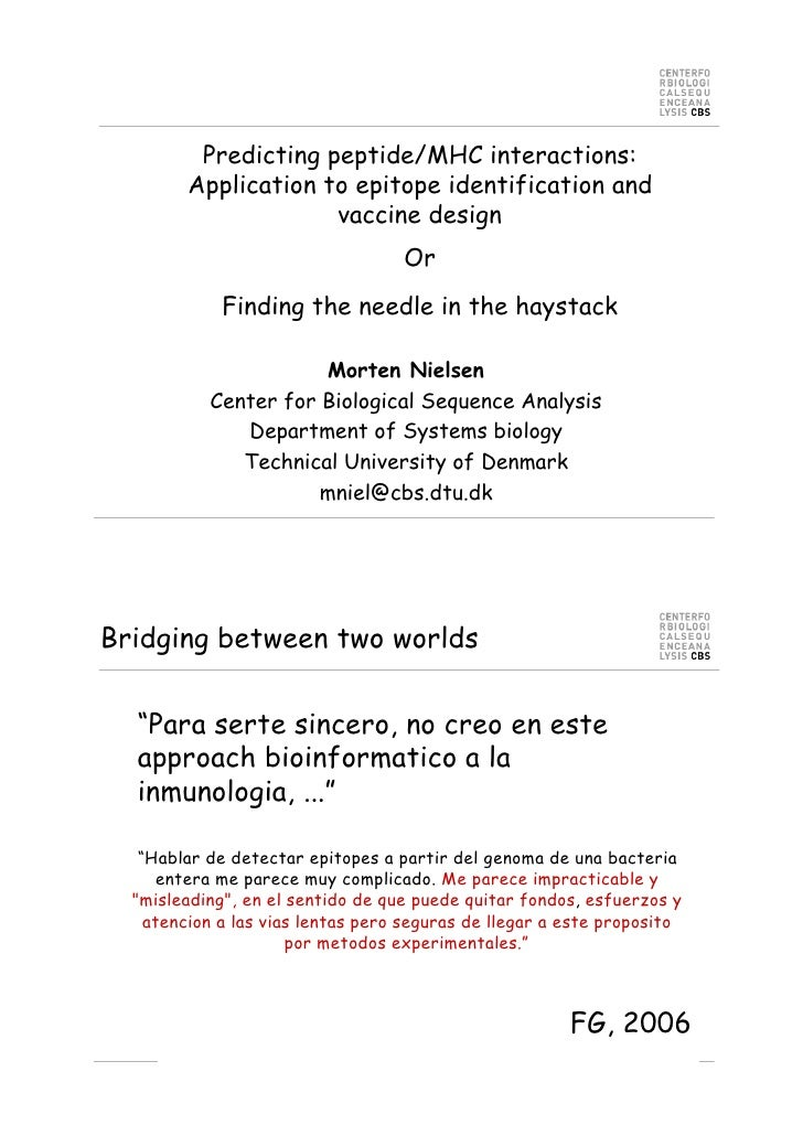 Predicting peptide/MHC interactions:         Application to epitope identification and                      vaccine design...