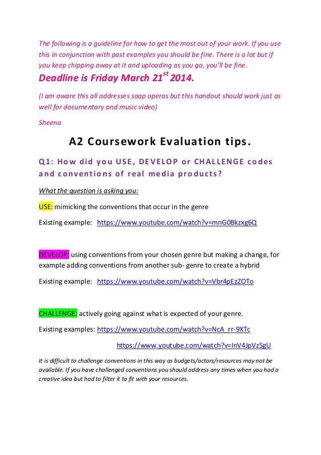 "OCR G324: A2 Media Studies coursework- ""How did you use, develop or challenge codes and conventions?"""