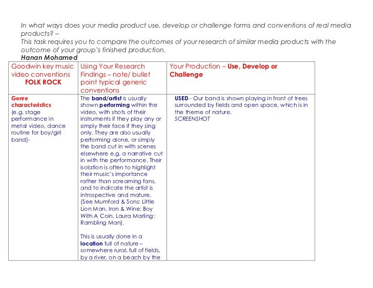 A2media evaluation task one table
